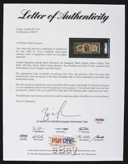 1946 St. Louis Cardinals World Series Champions Team Signed $2 Bill PSA DNA COA