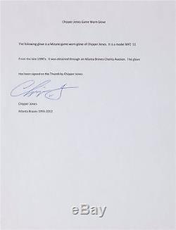 1990's Chipper Jones Game Used Signed Autographed Baseball Glove PSA DNA COA