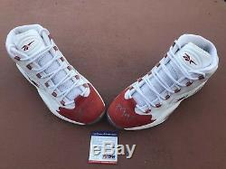 2006 Reebok Question Mid Red Toe Suede Size 11 Iverson Answer Signed PSA/DNA COA