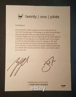 21 Twenty One Pilots Josh Dun Tyler Joseph Signed Autographed Letter PSA/DNA COA