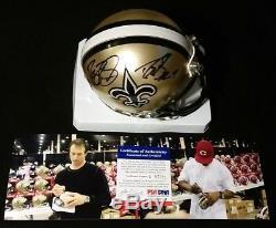 2x Auto 2008 Drew Brees/reggie Bush Psa/dna Coa Saints Signed Mini Helmet In Box