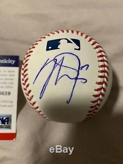 3x Mvp Anaheim Angels Mike Trout Signed Major League Baseball Psa/dna Coa