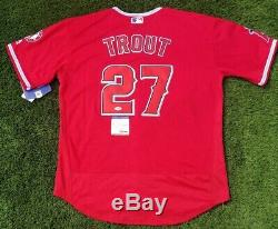 Angels Mike Trout Signed Red Baseball Jersey Psa/dna Coa