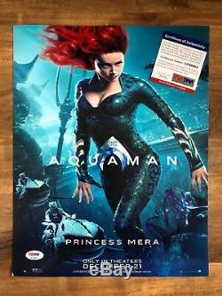 Aquaman Mera Amber Heard Autographed Sexy Signed 11x14 Photo Poster PSA/DNA COA