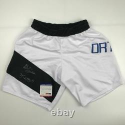 Autographed/Signed BRIAN ORTEGA UFC MMA White Fighting Trunks PSA/DNA COA Auto