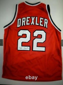 Autographed/Signed CLYDE DREXLER Portland Red Basketball Jersey PSA/DNA COA Auto