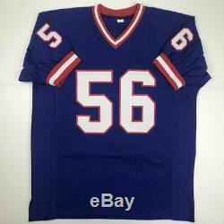 Autographed/Signed LAWRENCE TAYLOR New York Blue Football Jersey PSA/DNA COA