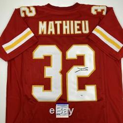Autographed/Signed TYRANN MATHIEU Kansas City Red Football Jersey PSA/DNA COA
