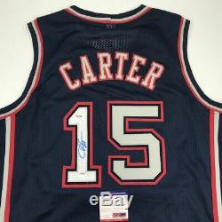 Autographed/Signed VINCE CARTER New Jersey Blue Basketball Jersey PSA/DNA COA