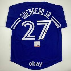 Autographed/Signed VLADIMIR VLAD GUERRERO JR Toronto Blue Jersey PSA/DNA COA
