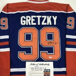 Autographed/Signed WAYNE GRETZKY Edmonton Blue Hockey Jersey PSA/DNA COA/LOA
