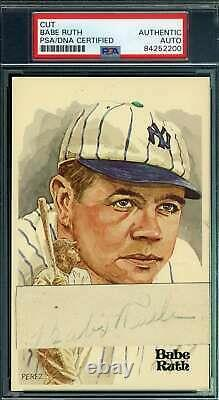 Babe Ruth PSA DNA and JSA Coa Autograph Hand Signed Perez Steele Cut Postcard