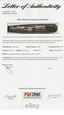 Barry Bonds 1987 Game Used Baseball Bat Pittsburgh Pirates Psa/dna Coa Loa