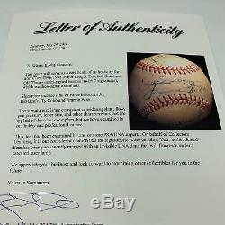 Beautiful Ty Cobb Jimmie Foxx & Joe Dimaggio Signed 1947 AL Baseball PSA DNA COA
