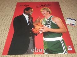 Bill Russell Larry Bird Signed 16x20 Photo Autograph Boston Celtics Psa Dna Coa