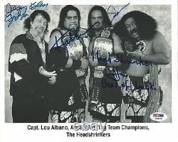 Capt Lou Albano +3 The Headshrinkers Signed WWE 8x10 Photo PSA/DNA COA Autograph