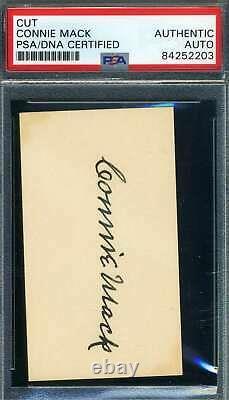 Connie Mack PSA DNA Coa Autograph Hand Signed Business Card Size Cut