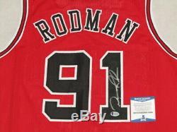 DENNIS RODMAN Hand Signed BULLS Jersey 1 + BECKETT COA PSA DNA
