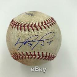 David Ortiz Signed Game Used Actual Hit #2466 Baseball 9/24/16 PSA DNA COA
