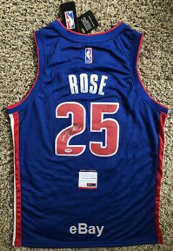 Derrick Rose Signed Detroit Pistons Jersey PSA/DNA COA #25 Bulls NBA Star RARE