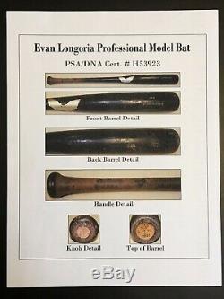 EVAN LONGORIA 2008 Rookie Signed Auto GU Sam Bat RAYS PSA/DNA COA Longoria Holo