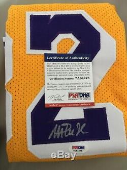 Earvin Magic Johnson LA Lakers Signed Home Yellow NBA Jersey PSA/DNA COA