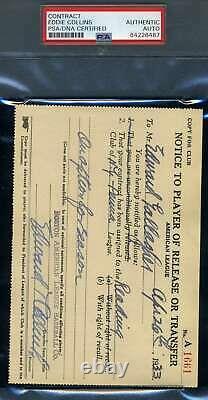 Eddie Collins PSA DNA Coa Autograph Hand Signed 1933 Player Release
