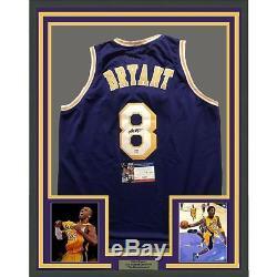 FRAMED Autographed/Signed KOBE BRYANT 33x42 LA Purple Jersey PSA/DNA COA Auto