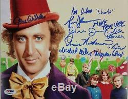 GENE WILDER + Willy Wonka Kids Cast x6 signed 8x10 Photo PSA/DNA COA LOA