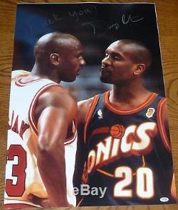 Gary Payton Signed FU Michael Jordan 20x30 Photo PSA/DNA COA Autographed Sonics