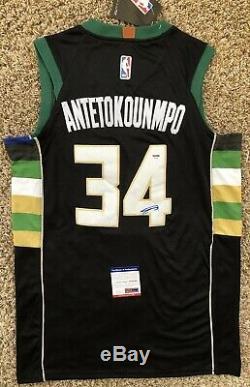 Giannis Antetokounmpo Signed Milwaukee Bucks Jersey PSA/DNA COA #34 NBA All Star