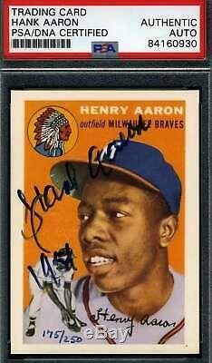 HANK AARON PSA DNA Coa Autograph 1991 ECN 1954 Topps Rookie Reprint Signed