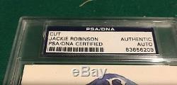 JACKIE ROBINSON Bold Signed Cut Auto PSA/DNA COA Perez Steele Postcard HOF Rare