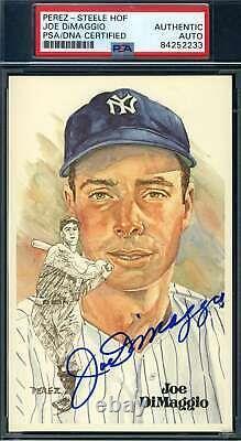 Joe Dimaggio PSA DNA Coa Autograph Hand Signed Perez Steele Postcard