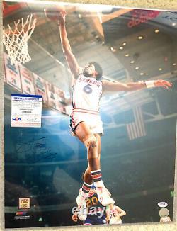 Julius Erving Dr J Autograph PSA/DNA 16x20 Photo JSA COA Signed 76ers Sixers
