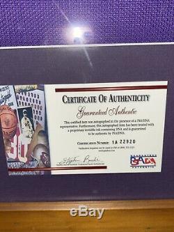 KOBE BRYANT Hand Signed Framed LAKERS Jersey + PSA DNA COA