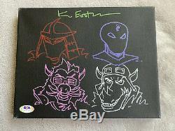 Kevin Eastman Autographed Signed TMNT Canvas Multi Sketch Shredder PSA/DNA COA