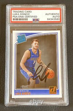 Luka Doncic Signed 2018 Panini Hoops #177 RC Autographed Rookie PSA DNA COA Auto