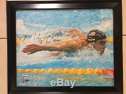 MICHAEL PHELPS Signed Autograph Inscribed 16x20 Photo Framed PSA DNA COA & HOLO