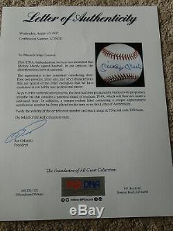 MICKEY MANTLE Signed BASEBALL withFULL Letter PSA/DNA COA New York Yankees HOF