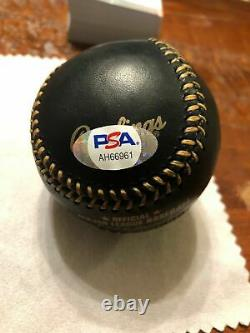 MIKE TROUT SIGNED BLACK LEATHER OFFICIAL MAJOR LEAGUE BASEBALL With PSA DNA COA
