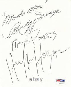 Macho Man Randy Savage & Hulk Hogan Mega Powers Signed Cut Paper PSA/DNA COA WWE