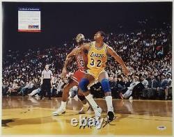 Magic Johnson autograph signed 16x20 Photo #1 vs Michael Jordan PSA/DNA ITP COA
