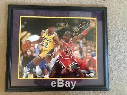 Michael Jordan Magic Johnson Signed 16x20 Photo Upper Deck Psa Dna Coa Bulls