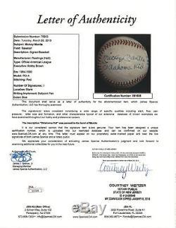 Mickey Mantle Oklahoma Kid Single Signed Inscribed Baseball PSA DNA & JSA COA
