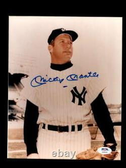 Mickey Mantle PSA DNA Coa Signed 8x10 Yankees Photo Autograph
