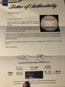 Mickey Mantle Signed Baseball PSA DNA Full Letter COA Yankees