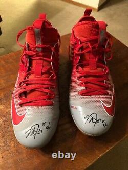 Mike Trout Dual Signed Game Used Worn 2015 Nike Shoes Cleats Psa Dna Coa Angels