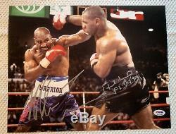 Mike Tyson & Evander Holyfield Autographed 11x14 Photo Bite Fight Psa Dna Coa