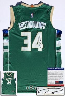 Milwaukee Bucks Giannis Antetokounmpo Signed Jersey PSA/DNA COA